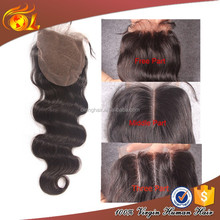 Bleached Knots cheap human hair 3 part silk base lace closure Free parting/Middle/3 way Part Brazilian hair Lace Closure