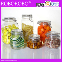 wholesale glass storage jar with clip, glass canister with glass lid