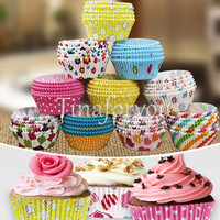 100pcs/lot Mixed Colorful DIY Muffin Cake Mold Cups Baking Cupcake Xmas Greaseproof Paper Cake Cup