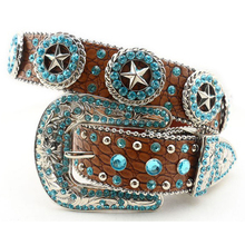 Western Cowgirl Blue Crystal Texas Star Rhinestone Bling Bling Belt