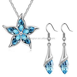 Fashion star design metal diamond jewelry set for women