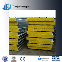 Industrial material decorative panel sheet metal glass wool interior wall sandwich panel