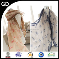 GDB0034 beautiful brisk streak crown printed comfortable cotton voile lady scarves
