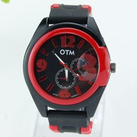 Fashion New Men's Rubber Sport Watch, 6 Colors Big Dial Numbers Male Silicone Rubber Strap Watch