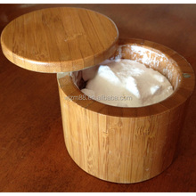round bamboo salt box with lid, salt storage container wholesale