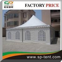 Promotional big aluminum pergola moroccan pagoda tents with white satin decorative linings