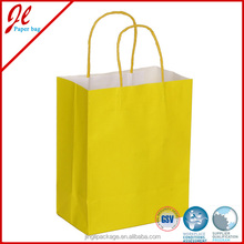 2pk Solid Kraft Paper Bags with Yellow Twisted Handle