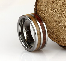 2015 Wholesale Fashion Designs Wood Inlay Tungsten Rings