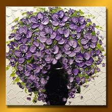 Bright purple flower oil painting for kids room