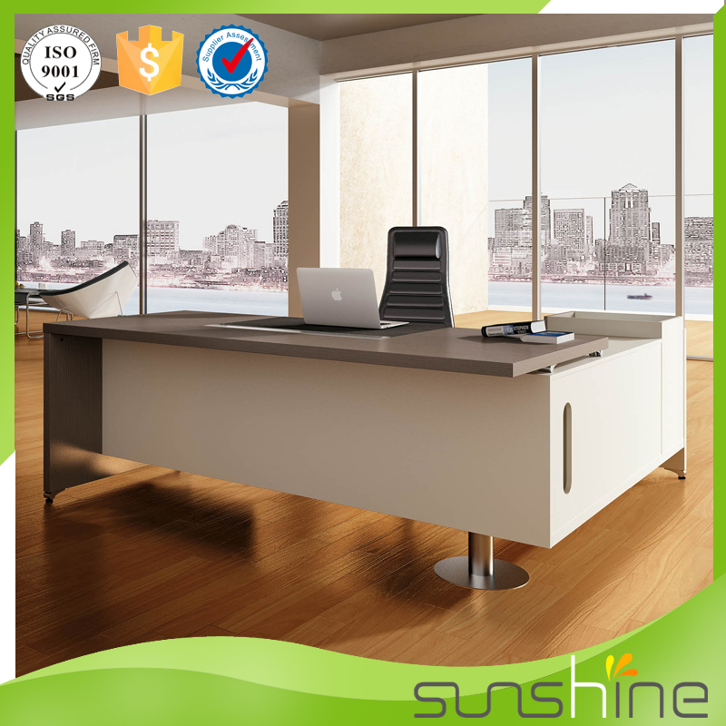 ... Popular White Wooden Office Table Modern Design Executive CEO Desk Boss Office  Desk With Side Table ...