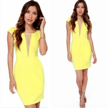 Stylish Sexy Lady's Yellow Short Sleeve Patchwork Mesh Mini Dress SV015504