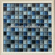 blue glass mosaic bathroom wall deco/kitchen backsplash tile
