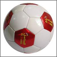 Official size and weight PVC Leather machine stitched red and white Football/soccer ball