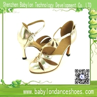 Babylon gold leather hollow shoes in dance wholesale women latin dance shoes import shoe woman low / high - heeled sandals dan