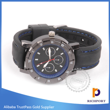 Promotion Genuine Black Cow Leather Fashion Men Stainless Steel Wrist Watch