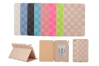 Fashionable PU Leather case Foldable Book Grid style Flip Stand cover for iPad mini 4