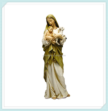 China factory wholesale resin Virgin Mary Madonna with baby and Lamb Figure Statue