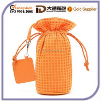 2015 Waffle Weave Cotton Drawstring Cosmetic Bag Round Shape Lady Toiletry Wash Bag With Mirror