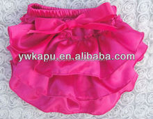 Summer solid color satin baby diaper cover with bow NO MOQ