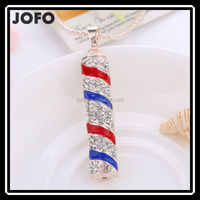 European Fashion Style Cylindrical Red And Blue Color Mixed Strip Necklace