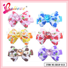 Factory wholesale low price environmental fabric colourful heart pattern bow hairpins for hair (XH18-013)