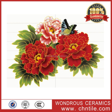 300x450 South Africa hot sale 3d inkjet red flower bathroom ceramic decorative wall and floor tile stickers