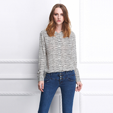 2015 caliente venta de la seda de la tela escocesa elegante casual camisetas de manga larga para la mujer