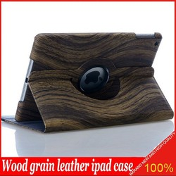 Top Fasion wood grain 360 rotating leather flip case for ipad mini for ipad 2/3/4 for ipad air/5 for ipad air 2 DHL shipping