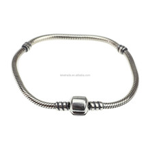 """Wholesale Authentic 925 Sterling Silver Round Clip Antique Silver 3mm Thick Snake European Bracelet 7"""" 7.6"""" 7.9"""""""