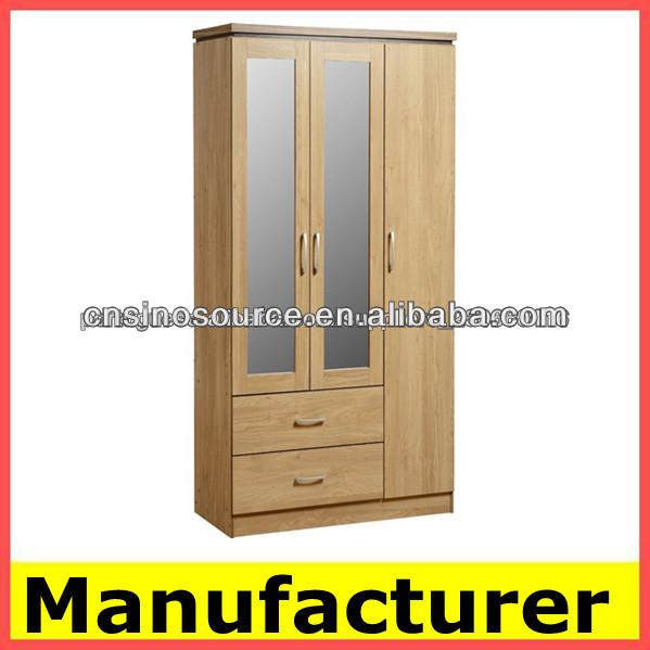 Con espejo de madera de armarios dormitorio armario mueble for Roperos de madera para dormitorios