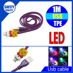 For cellphone colorful cartoon charging and sync data light up led usb cable