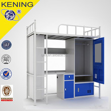 school iron bunk bed with desk and locker