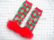 Baby christmas plaid leg warmers, baby plaid leg warmers, baby lace leg warmers