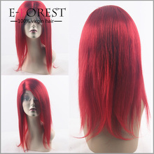 Glueless Red Wigs Virgin Brazilian Human Hair Silk Top Lace Front Wig New Fashion Red Human Hair Party Wigs