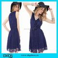 Nuevo diseño para el vestido, azul real tela de encaje vestido del patrón sin mangas, vestido de diseño de chicas de verano frock designs