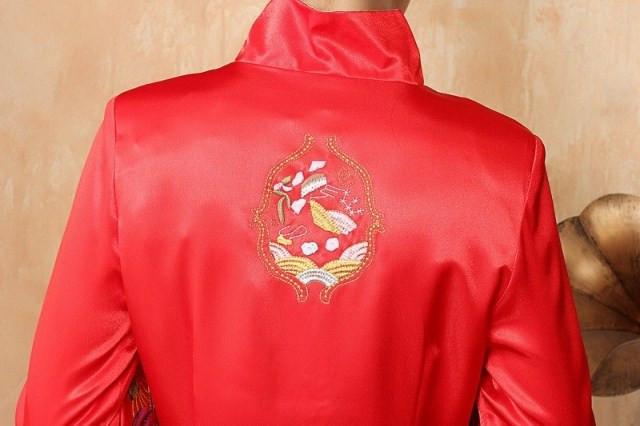 красный традиционный китайский одежда cheongsam qipao Тан блузка Топ длинный парча вышивка траншейные пальто для женщин, Свадебная одежда