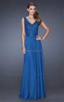 Elegant Fashion V-Neck Lace Chiffon Sash bead design evening dress 2014 FXL-783