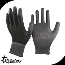 SRSAFETY 13G Black PU coated Nylon liner black PU glove work glove palm fit
