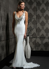 WIM10316 New Elegant White Long Scoop Neckline with Crystals Backless Hand Down Beading and Ribbon Bridal Wedding Dress 2015