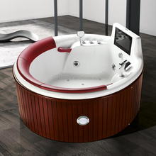 Free Standing Wooden Surface Whirlpool Bathtub with Shower and TV (CA-F7069)