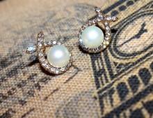 2015 newest jewelry earrings, wholesale pearl inlay crystal rhinestone earrings