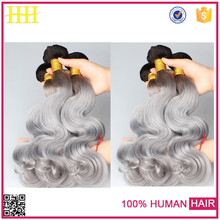 Free weave 100% virgin body wave black to gray to white human hair bundles