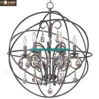 French Provincial Country Style Home Restaurant Decor Orb Crystal Chandelier Hanging Pendant Lighting Fixtures CZ2516/6