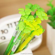 2015 new design four leaf clover promotional gel pen for wholesale