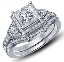 Custom 925 sterling silver women wedding ring with square cz paved jewelry white gold wedding ring for girl