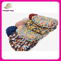 China acrylic knitted Hats with pom pom Wholesale winter handmade handmade winter hat