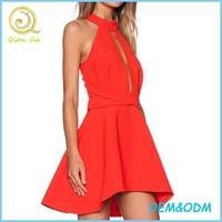 100% polyester 2015 OEM service new arrival short red prom dress sleeveless halter sex prom dress