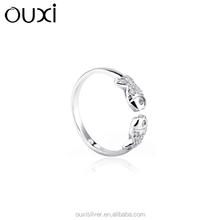 OUXI fish shaped ,engagement ring , import silver jewelry Y70041