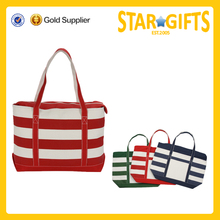 fashionable strong reusable striped canvas personalized tote bags