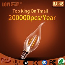 HIgh cri 110lm/w dimmable C35 led candle light bulb for home decor